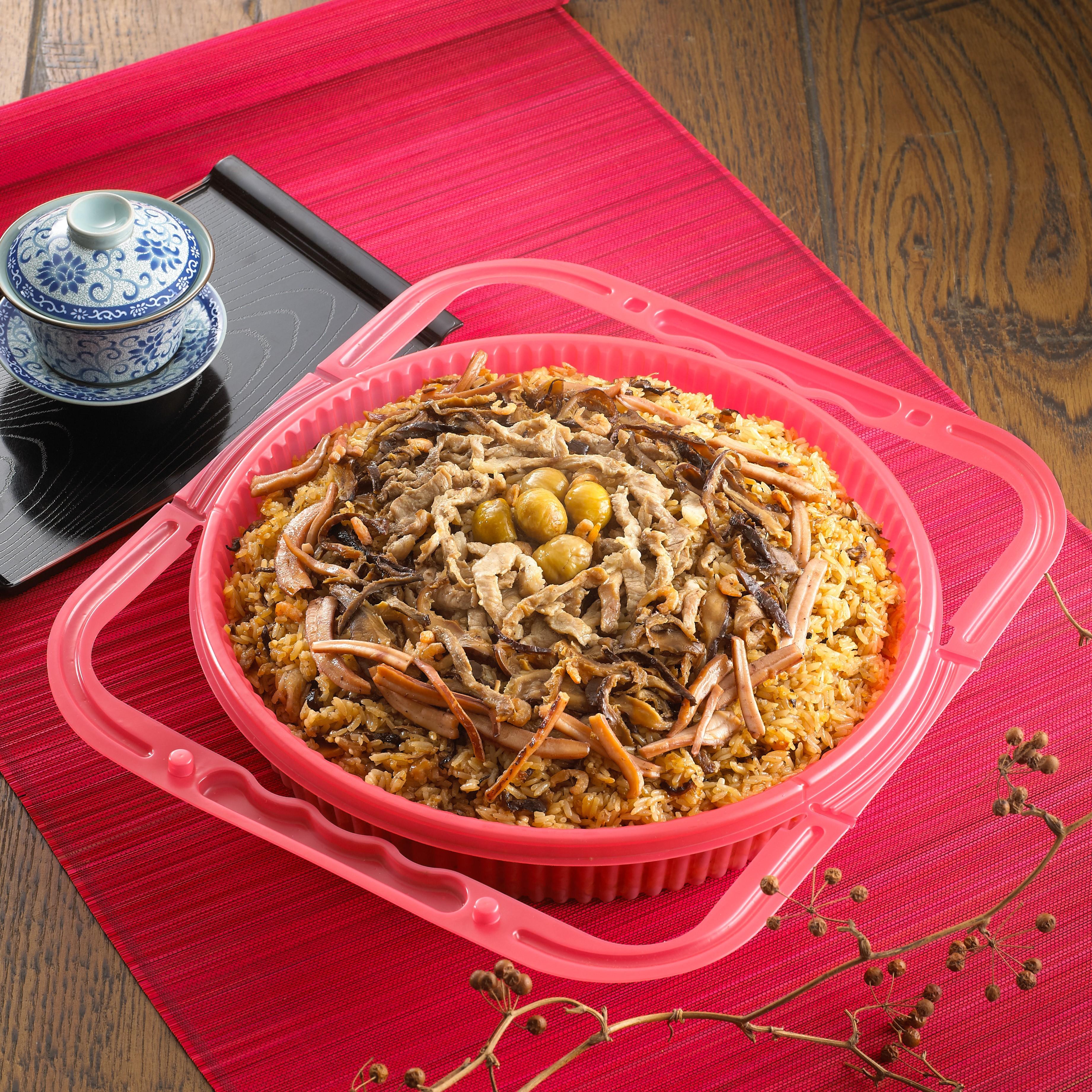 滿意謝盤-5斤(油飯5斤)$500 建議售價:$500元 材料:油飯5斤、栗子、香菇、 瘦肉、蝦仁